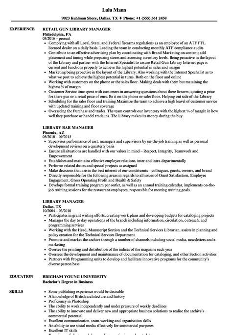 library manager resume sles velvet