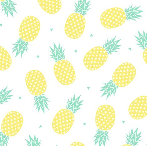 Pineapple - White Background (small) fabric - kimsa