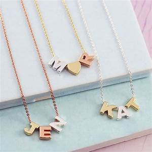 mixed metal mini letter necklace by js jewellery With mini letter necklace