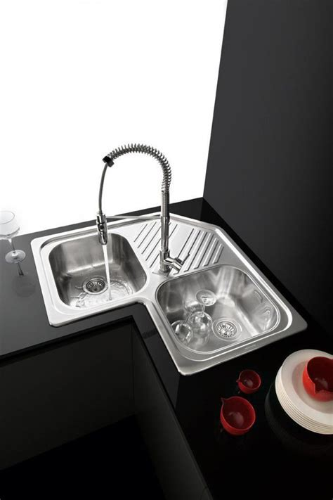 2 bowl kitchen sink / stainless steel / corner / with