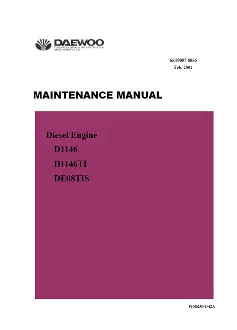daewoo doosan d1146 d1146ti de08tis diesel engine pdf