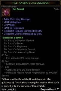 Diablo 3 US Tal Rasha's Allegiance Amulet Wizard Rashas ...