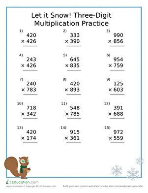 snow  digit multiplication practice