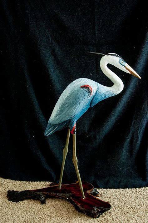 great blue heron hand carved heron wood