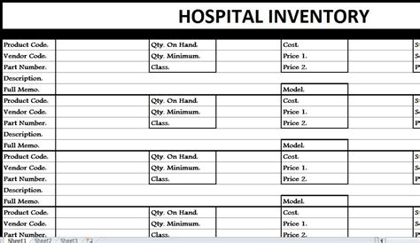 hospital inventory list  excel templates