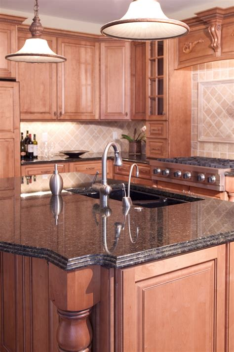kitchen island with granite countertop coffee brown granite installed design photos and reviews
