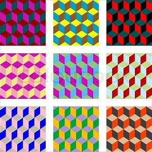 Nine different versions of psychedelic patterns, art