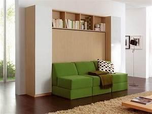 Lit Armoire Canapé : armoire lit transversale 2 pers avec canape modulable ~ Teatrodelosmanantiales.com Idées de Décoration