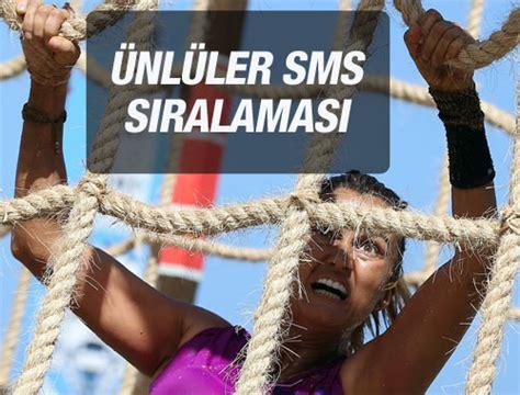 Ünlüler takımından bir isimin gideceği akşamsa sms sıralaması. Acunn Survivor ünlüler SMS sıralaması 23 Şubat 2016