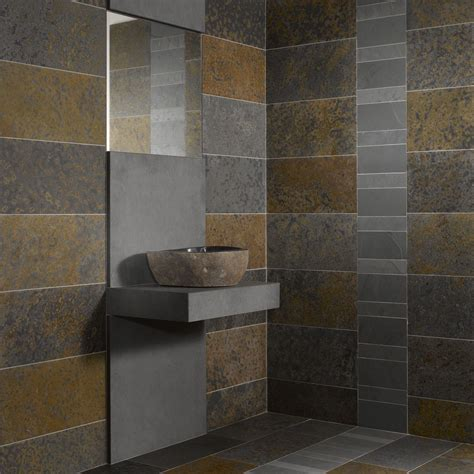 mosaique ardoise salle de bain dalles carrelage ardoise multicolor 60x7 indoor by