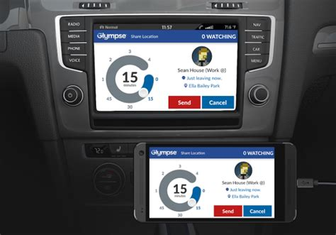 mirrorlink app for android glympse to be integrated with volkswagen and peugeot cars