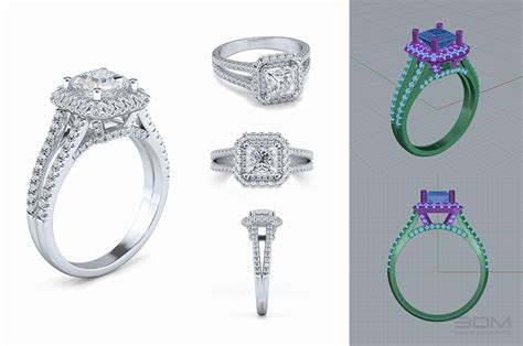 cad jewelry designs and renders for classic jewelry online store