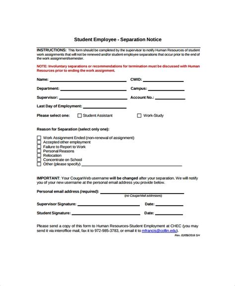 9 separation notice templates pdf docs ms word apple pages