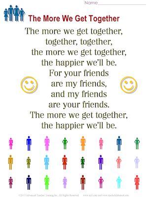 the more we get together free esl song sheets 915   more we get together md