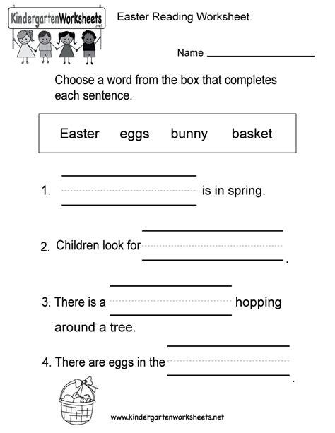 easter reading worksheet free kindergarten holiday