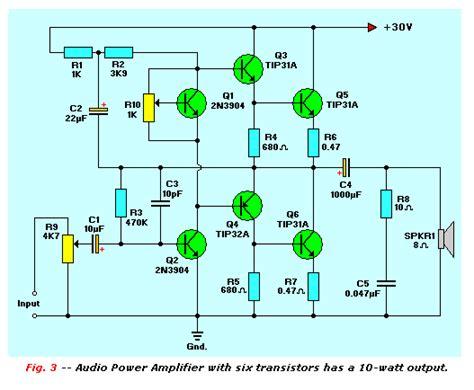audio power lifier with 6 transistors 10 watt lifier