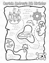 Treasure Map Pirate Coloring Printable Pages Maps Adult Chest Pdf Activity Theme Party sketch template