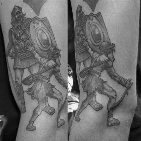 david  goliath tattoo designs  men manly ideas
