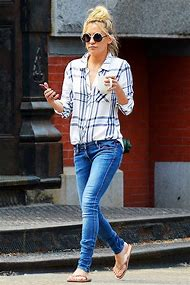 Plaid Shirt and Jeans Women