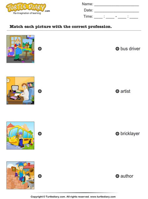 match occupations  pictures worksheet turtle diary