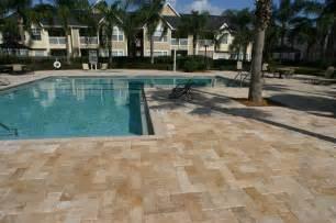 Pavers For Pool Decks by Paver Pool Deck Travertine From Orlando Brick Pavers Inc