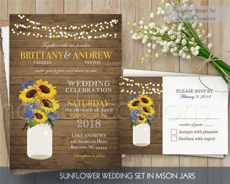sunflower wedding invitation set printable rustic mason
