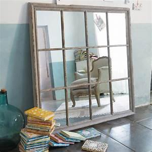 Maison Du Monde Miroir Industriel : miroir en bois gris h 120 cm camargue maisons du monde ~ Teatrodelosmanantiales.com Idées de Décoration