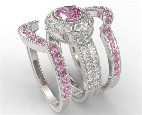 Filigree Pink Sapphire And Diamond Trio Wedding Band Set   Vidar Jewelry   Unique Custom