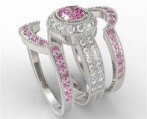 filligree pink sapphire diamond trio wedding ring set With pink sapphire wedding ring sets