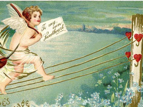 vintage valentine postcard cupid  graphics fairy