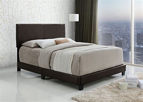 Dark Brown Bonded Leather Queen Size Upholstered Headboard
