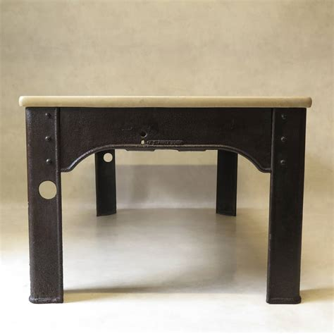 riveted iron work table with top 1900s for