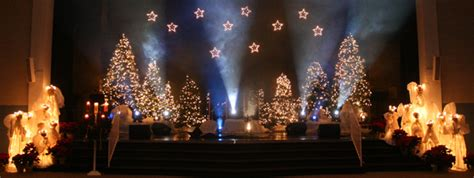 glowing angels  trees church stage design ideas