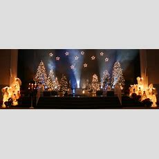 glowing angels and trees church stage design ideas