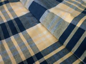 Cottage Shower Curtain Plaid Cotton Navy Yellow By