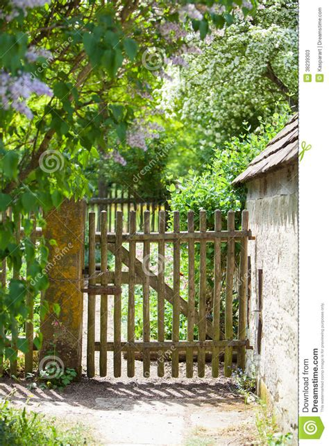 Old Fence And Gate To A Cottage Garden Stock Image Image