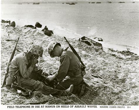US Marines using a field telephone on Roi-Namur, Kwajalein ...