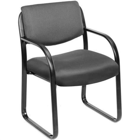 fabric sled base chair with arms in gray b9521 gy