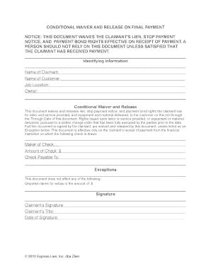 Bill Of Sale Form Conditional Waiver Of Lien Forms Bill Of Sale Form Missouri Unconditional Lien Waiver