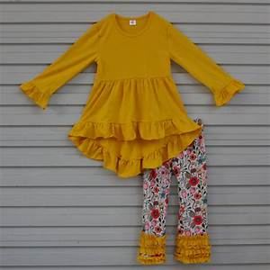 Fall Winter Fashion Toddler Girls Outfits Infant Yellow Ruffle Tops Kids Floral Pants 2 PCS ...