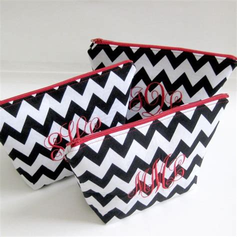 monogrammed cosmetic make up bag personalized
