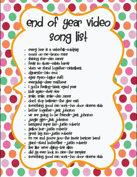 Songs For End Of Year Video  Classroom Ideas Pinterest
