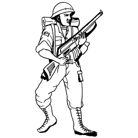 47 Soldier Coloring Pages To Print Soldier With M16