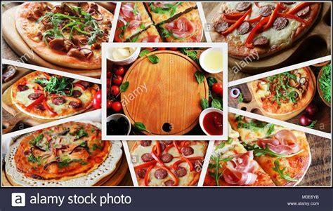 zutaten auf englisch collage mit verschiedenen arten pizza zutaten f 252 r pizza auf holztisch ansicht oben