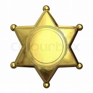 Golden sheriff's badge   Stock Photo   Colourbox