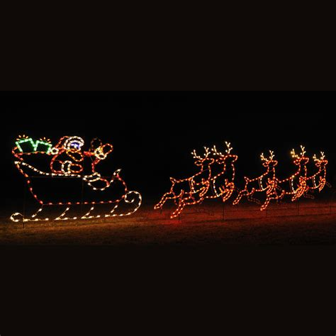 animated led santa sleigh 5 reindeer display 30 w