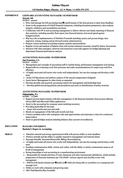 Resume For Accounting Manager by Accounting Manager Supervisor Resume Sles Velvet