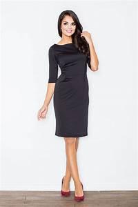 robe noire cintree et ajustee manches courtes With robe mi longue noire