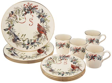 lenox winter greetings dinnerware christmas sets piece cardinal holiday dinner bowls log everything homes china dishes amazon serving casual ivory