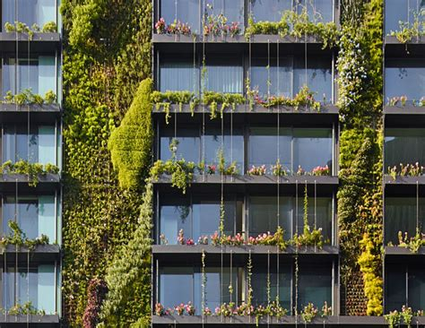 Vertical Garden Facade by Hydroponic Vertical Gardens And Heliostats On Sustainable